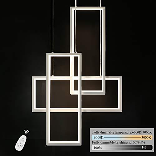 GBLY LED Pendelleuchte Dimmbar 3-flammig Esszimmerlampe 74W Geometrisch Weiß Hängelleuchte 150cm Höhenverstellbar Kronleuchter mit Fernbedienung für Esszimmer, Küche, Wohnzimmer, Schlafzimmer, Büro