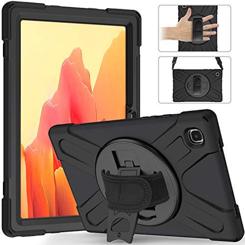 Neecio Custodia per Samsung Galaxy Tab A7 da 10,4 Pollici 2020 (T500 / T505 / T507) , Rugged Custodia Cover Robusta Ibrida Antiurto con Shoulder Strap and Kickstand Rotante (Black)