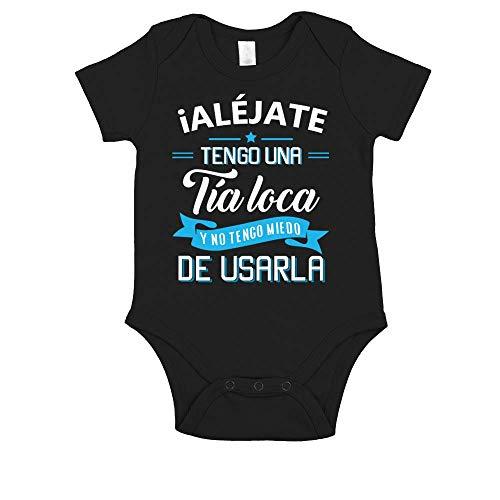 TEEZILY Body Bebé TÍA Loca - Más diseños - desplácese hacia Abajo - Negro - 3MO