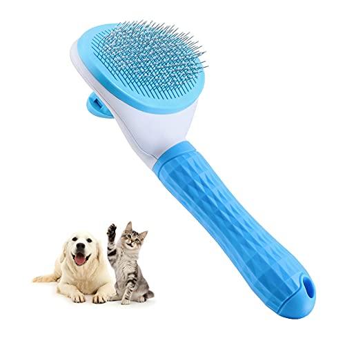 Katzenbürste, Selbstreinigende Zupfbürste entfernt Unterwolle Hundebürste Hundebürste Katzenbürste Kurz bis Langhaar Geeignet Sanfte Katzenbürste Zupfbürste (Grau) (Blau)