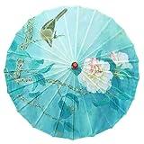 Paraguas clásico de papel de aceite de estilo chino, a prueba de lluvia, paraguas a prueba de lluvia, sombrilla de papel floral y papel pintado de bambú para cosplay Hanfu - -