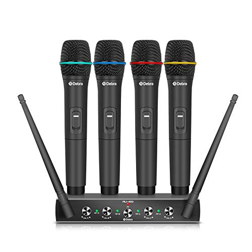 Debra Audio Pro UHF 4 Channel Wireless Microphone System with Cordless Handheld Lavalier Headset Mics, Metal Receiver, Ideal for Karaoke Church Party (with 4 Handheld (A))