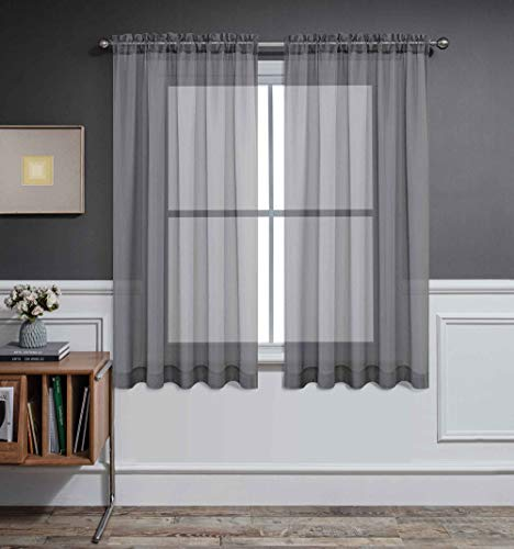 CUCRAF Sheer Curtains Panels for Living Room Bedroom Short Window Treatment Drapes Dual Rod Pocket,Set of 2 (54 x 63 inches Long,Grey )