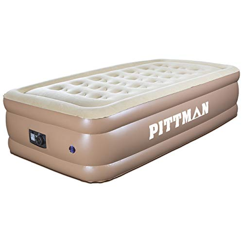 "Pittman Outdoors PPI-TWIN18 Twin, 18"" high Built in Pump-18 Inflatable Flocked Top-Best Blow Up Mattress Air Bed for Guests and Traveling"
