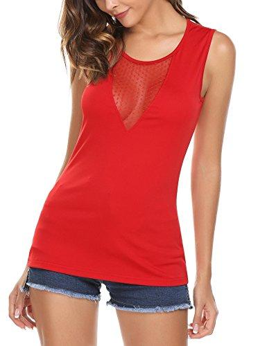 Tops Damen Tank Armlos Shirt V-Ausschnitt Bluse Rückenfrei Tunika sexy Oberteil weinrot Oberteil m Shirt 38 Shirt für mädchen