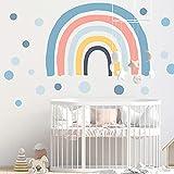YXHZVON Adhesivo Ddecorativo para pared Infantil, 73 cm (H) x 116 cm (W) Arcoiris de la Habitación del Bebé Pegatinas de Puntos, Vinilos Decorativos de pared Infantiles Bebés