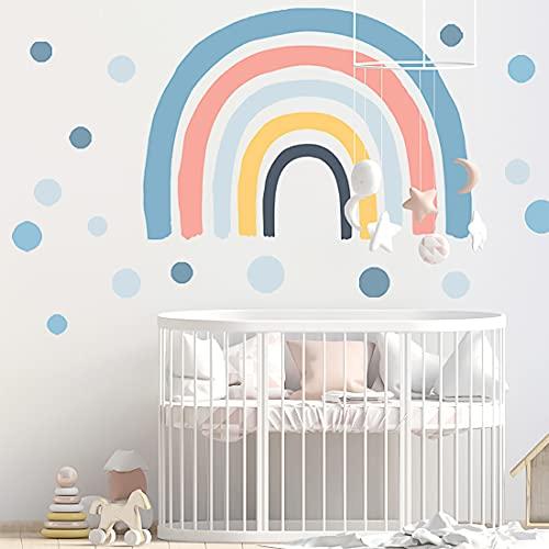YXHZVON Adesivi da Parete per Bambini, 73 cm (H) x 116 cm (W) Adesivi Murali Arcobaleno Cameretta con Pois, Simpatici Adesivo da Parete per Cameretta dei Bambini