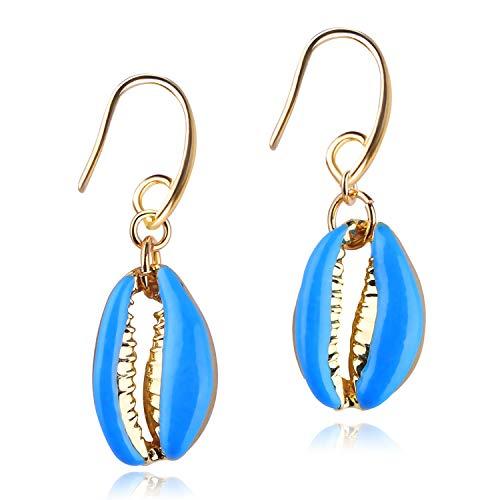 KELITCH Oro Labios Cowry Colgar Pendientes Vistoso Soltar Pendientes Concha Mujer Declaración Pendientes Joyería (Azul)