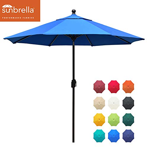 EliteShade Sunbrella 9Ft Market Umbrella Patio Outdoor Table Umbrella with Ventilation and 5 Years Non-Fading Top,Blue