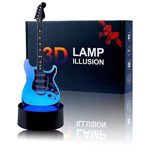 Guitar Night Light, 3D Optical Illusion LED Nightlight Bedside Lamp Smart Touch 7 Colors +16 Colors Remote Dimmable USB Charger Home Decoration for Kids Gift