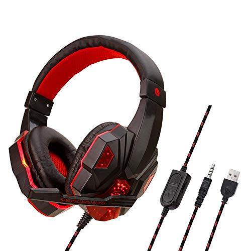 LIJUMN Casque De Jeu avec Son Surround, Casque PS4 avec Microphone Antibruit Et Lumière 7 LED, Compatible avec PC, PS4, Manette Xbox One, Cadre en Acier - Noir