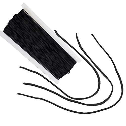 Trimming Shop - Cinta elástica redonda de 3 mm de ancho, rollo de cuerda elástica para costura, correa elástica, cordón para la oreja para manualidades hechas a mano, cuentas y tejer. 3 m negro