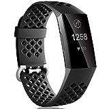 Dirrelo Compatibile con Fitbit Charge 3/Fitbit Charge 4 Cinturino, Ricambio Sportivo Regolabile in Silicone Accessori Traspiranti Cinturino per Fitbit Charge 3 SE, per Donna Uomo, Nero L