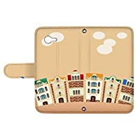 スマQ AQUOS Xx2 mini 503SH 国内生産 カード スマホケース 手帳型 SHARP シャープ アクオス ダブルエックスツー ミニ 【C.オレンジ】 町並み イラスト ami_vd-0252