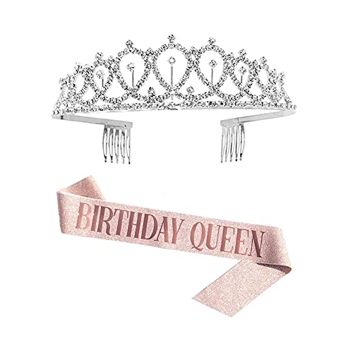Hazrcvr Corona de Cumpleaños Corona de Diamantes de Cristal Tiara de Cristal para Cumpleaños Cinturón Champagne Cumpleaños Suministros para Fiestas de Feliz cumpleaños, Favores, Decoraciones