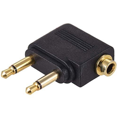 Dual 3,5 mm Male naar 3,5 mm vrouwelijke AUX Audio Jack Adapter vliegtuig reizen koptelefoon gouden vergulde Converter
