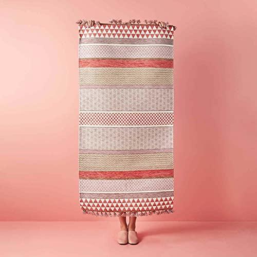 BELLA MAISON - Dusty Pink Kilim Alfombra 120 x 180 cm, 1058 g/m2, tejido liso de mezcla de algodón, antideslizante, con borlas, color: salmón, fabricado en Turquía.