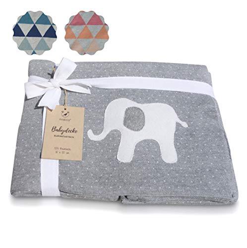 nidito® Premium Baby-Decke Mädchen Jungen/Baumwoll-Decke Baby, 80x100 cm, 100% Baumwolle, Punkte Elefant, Grau Beige, Wolldecke ideal als Erstlings-/ Kuscheldecke - Tolle Größe, extra weich