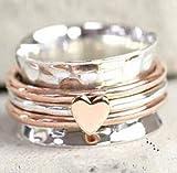 Meditation Heart Spinner Ring for Women, 925 Sterling Silver spinner ring for Women and Girls For Gift, Fidget Ring, Anxiety Ring, Worry Ring,