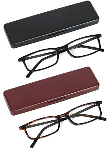 Reading Glasses Lightweight Set of 2 Glasses for Reading with Compact Thin Cases for Men and Women +1.25