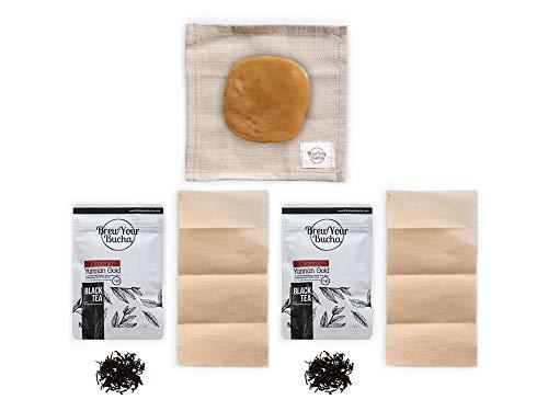 Brew Your Bucha Kobucha SCOBY con Starter Fluid. SCOBY cultivado con azúcar y té de oro negro Yunnan (paquete combinado)
