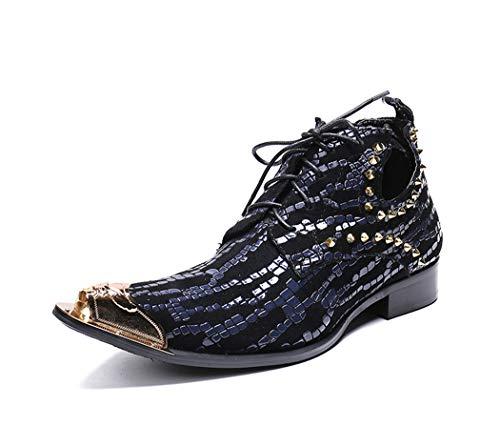 ZYHLLHerren-Stiefeletten Fashion Plaid Spitzschuh beiläufige Aufladungen Lackleder Lace-Up Chelsea Boots Italian Design-Kleid-Schuhe für Abend Parties Hochzeiten Birthday Parties Dinners,Blau,45EU
