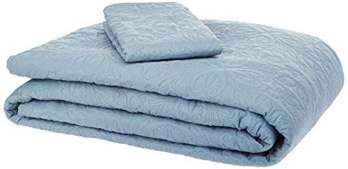 AmazonBasics Oversized Embossed Coverlet - Twin, Spa Blue Floral
