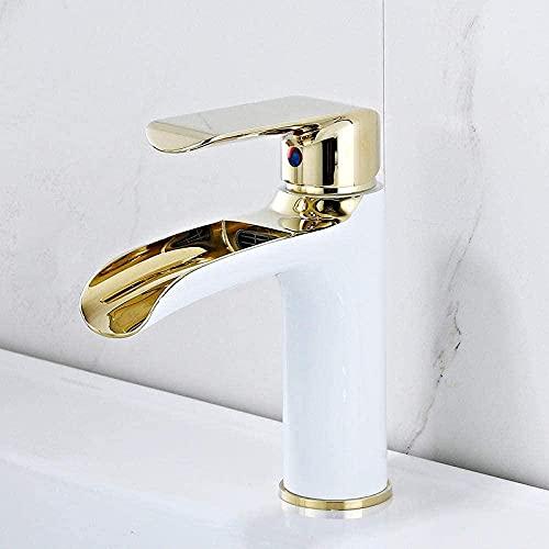 Grifo de latón para lavabo, color blanco dorado y blanco, grifo mezclador de agua fría y caliente, 2 HEMWRUFKGHR2B