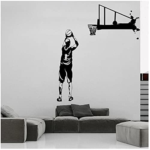 KBIASD Etiqueta de la pared del dormitorio de los niños calcomanía de vinilo de baloncesto decoración de la sala de estar decoración del hogar Mural extraíble impermeable 57x66 cm