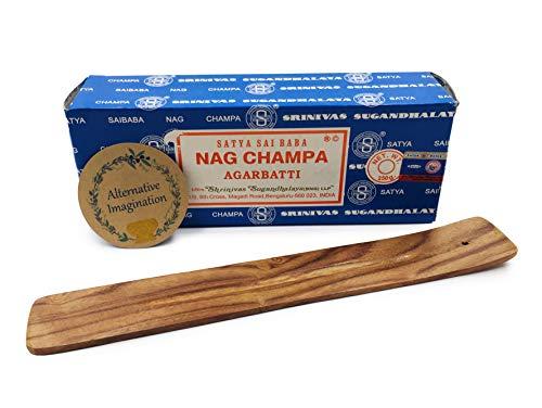 Alternative Imagination 250 Gram Nag Champa with Incense Holder (Wooden Incense Tray)