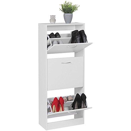 Wohnling schoenenkast met 3 vakken, 50 x 125 cm, wit