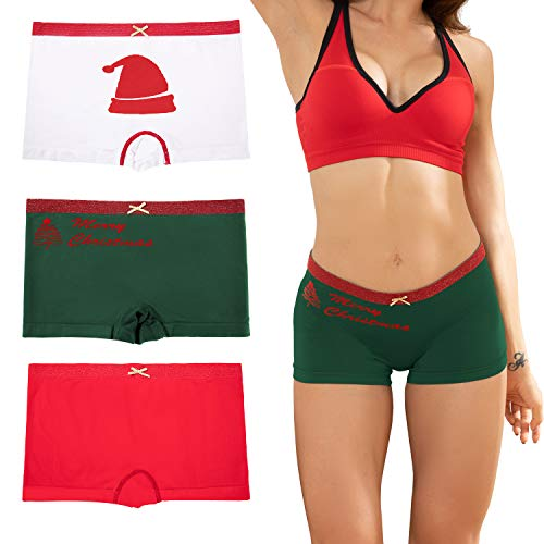 Ruxia Women's Merry Christmas Seamless Boyshort Panties Nylon Spandex Underwear Stretch Boxer Briefs Pack of 3