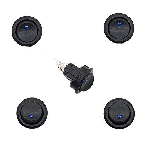 Pixnor Interruttore a pulsante 5pcs momentanea impermeabile 12V 20A 3-Pin rotondo puntino interruttore a pulsante per moto auto barca (colore della luce causale)