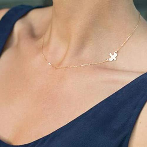FXmimior Halskette mit Tauben-Anhänger, zarte Halskette, Geschenk, mit Vogel-Anhänger, zarter vergoldeter Schmuck für Damen