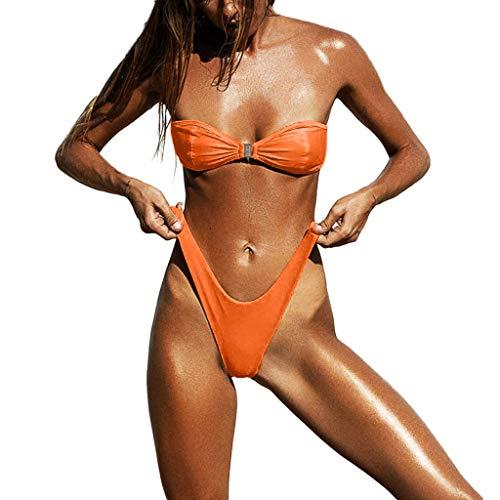 UOKNICE Swimwear for Womens, Summer Beach Sexy Set Push-Up Brazilian High-Cut Beachwear Tankini Bikini Online Stores Shop Tankinis Crop Best Boutique Where to Buy Orange