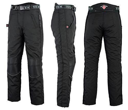 Texpeed Herren Regenhose für Motorrad/Motorroller mit durchgehendem Reißverschluss am Bein - Wasserdicht - Schwarz