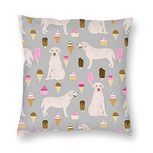 ~ Labrador Ice Creams Cute Dogs Home Decor Throw Pillow Cover, Lightweight Soft Plush Square Decorative Pillow Case 18x18 Inch Cushion Cover, Sham Stuffer, Machine Washable