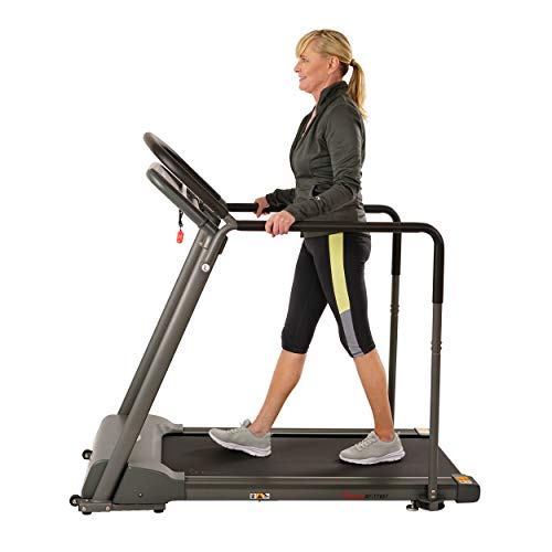 Sunny Health & Fitness Walking Treadmill with Low Wide Deck and Multi-Grip Handrails for Balance,...