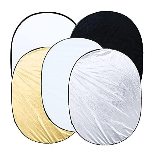 """撮影用 レフ板 35""""* 47"""" / 90 * 120cm楕円形5in 1(ゴールド、シルバー、ホワイト、ブラック、半透明)マルチポータブル折りたたみ式スタジオ写真撮影光反射板 人物撮影に適用"""