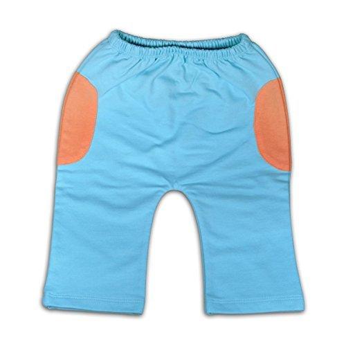 Mama Ocllo–Pantalones niño, algodón bio Pima, Azul Hielo/Naranja, orificio pañales 4-7 Mesi