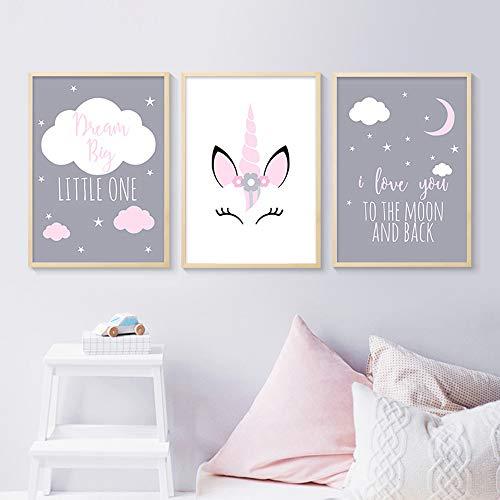 3 Affiches 30x40 Enfant Tableaux Deco Murale Chambre Bebe Animaux Licorne Citations Nuage Posters Peinture sur Toile Decoration Cadeaux Fille Garcon NPTWC001-M