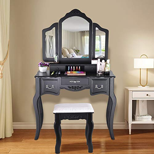 Dressing Tables Vanity Beauty Station Makeup Table and Wooden Stool 3 Mirrors and 5 Organization Drawers Set Makeup Dresser Desk with Stool for Bedroom Furniture,Dressing Room for Best Gifts (Black)