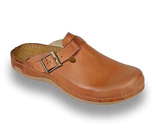 LEON 707 Zuecos Zapatos Zapatillas de Cuero para Hombre, Marrón, EU 43