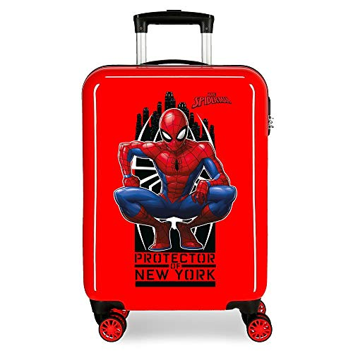 Marvel Spiderman Geo Maleta de cabina Rojo 37x55x20 cms Rígida ABS Cierre combinación 34L 2,6Kgs 4 Ruedas Dobles Equipaje de Mano