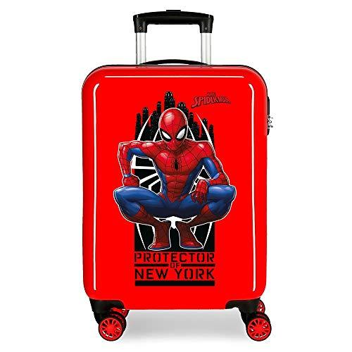 Marvel Spiderman Geo Maleta de cabina Rojo 37x55x20 cms Rígida ABS Cierre...