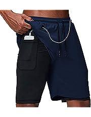 ASKSA Heren 2-in-1 shorts loopshorts dual korte sportbroek mannen fitness loopbroek sport broek trainingsbroek