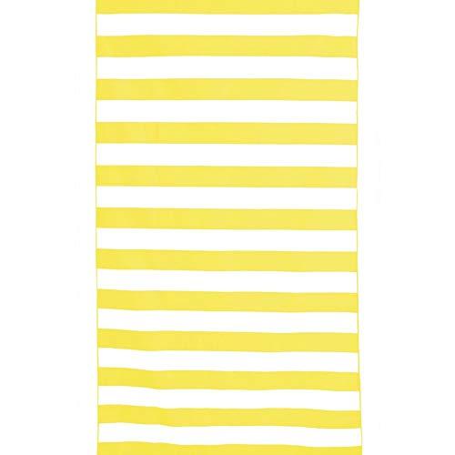 Toalla de playa amarilla a rayas, 170 cm x 90 cm