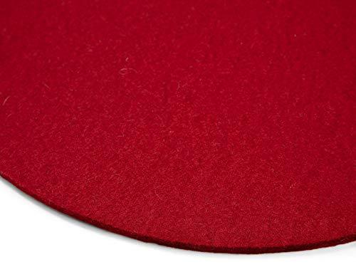 Modulor Filz-Sitzauflage für Stühle, rundes Sitzkissen aus 100% Wollfilz, auch als dekoratives Tischset geeignet, 33 cm im Durchmesser (Rot)