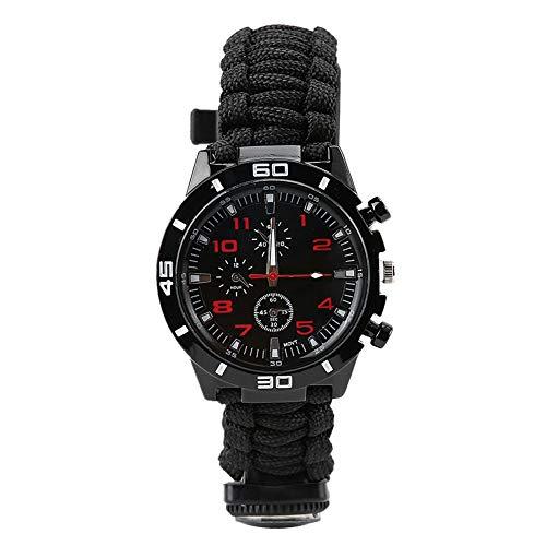 Sonew Emergency Survival Bracelet Watch, 7-in-1-Multifunktions Outdoor Ausrüstung mit Pfeifenkompass und Thermometer, für Camping und Outdoor Sportarten