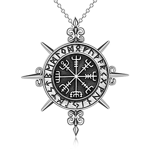 YAFEINI Norse Viking Runes Amulet Necklace Sterling Silver Nordic Viking Vegvisir Pendant Celtic Pagan Original Protection Jewelry Gifts for Men Women